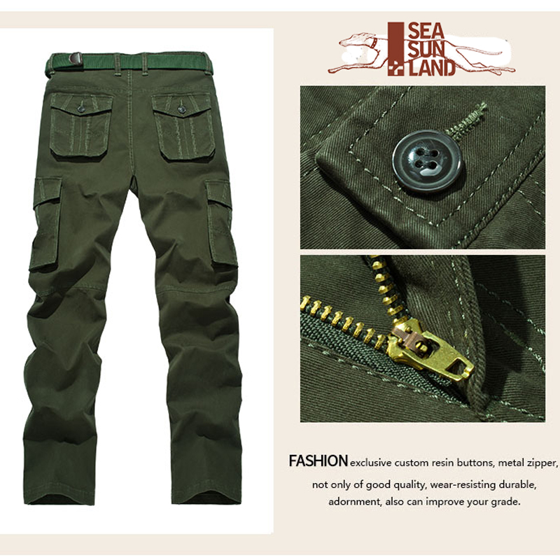 dbf3084256a SeaSunLand 29 40 Cargo Pants Millitary Clothing Tactical Pants Military Men  Army Style Workwear Full Length Trousers Baggy Pants-in Cargo Pants from  Men s ...