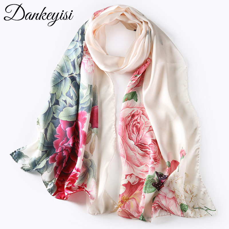 DANKEYISI Women Scarf Luxury Brand Bandanas Hijab Foulard Femme Bandana Print Pure Silk Scarf Women Scarves Autumn Sjaal