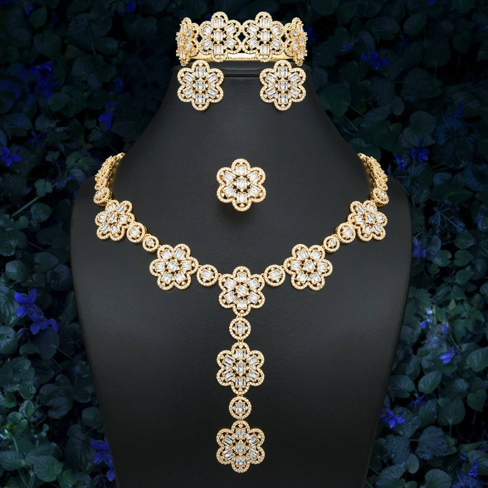 ModemAngel Delicate Flower Cubic Zirconia Silver Gold Color Luxury Jewelry Necklace Bracelet Earring Ring SetModemAngel Delicate Flower Cubic Zirconia Silver Gold Color Luxury Jewelry Necklace Bracelet Earring Ring Set