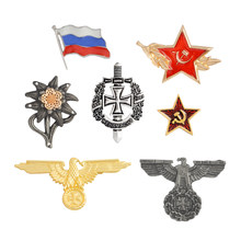 WWII WW2 Broches Duitse Militaire Eagle Pin Vlag van Rusland USSR Rode ster Pins Badge Metalen Broche Cap Kokarde Mannen's sieraden(China)