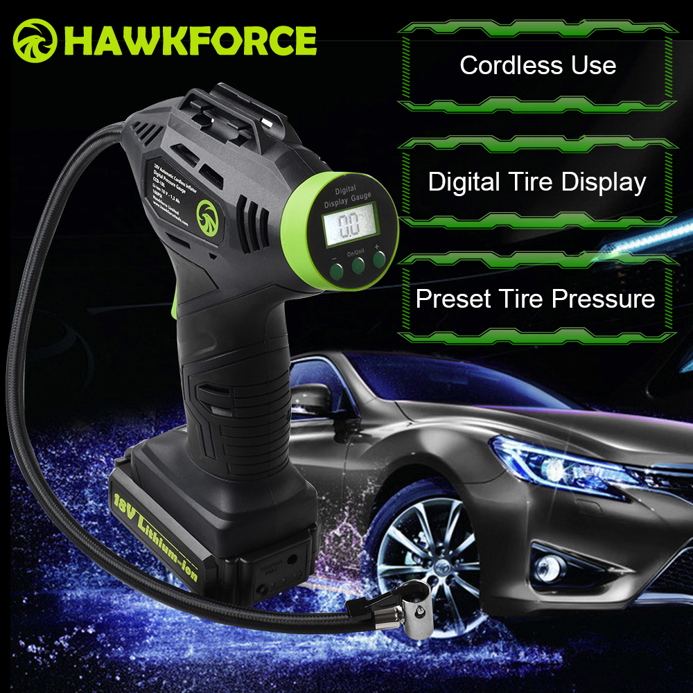 18V Digital Cordless Tire Inflator Rechargeable Air Pump HAWKFORCE Portable Handheld Compressor With LED Light for