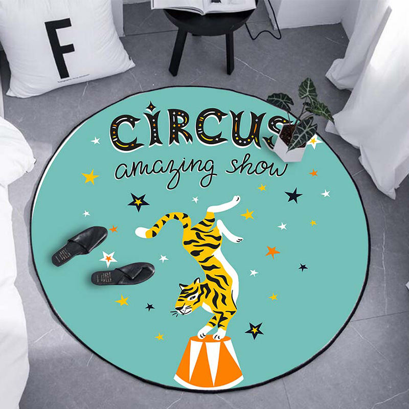 Cartoon Tiger Round Carpet For Living Room Bedroom Home Decor Carpet Rug Children Kids Room Soft Play Area Rug Chair Mat