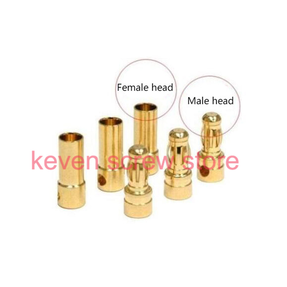 где купить 10pcs/lots 3.5mm Gold-plated Banana Bullet Plug Connector Male and Female RC Battery по лучшей цене