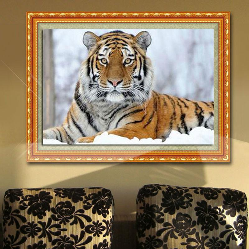 New Diy Diamond Malování Tygr Diamond Výšivky Všechny Vrták Tygr Na Sněhu Náměstí Vrtání Dekorace Obrázek