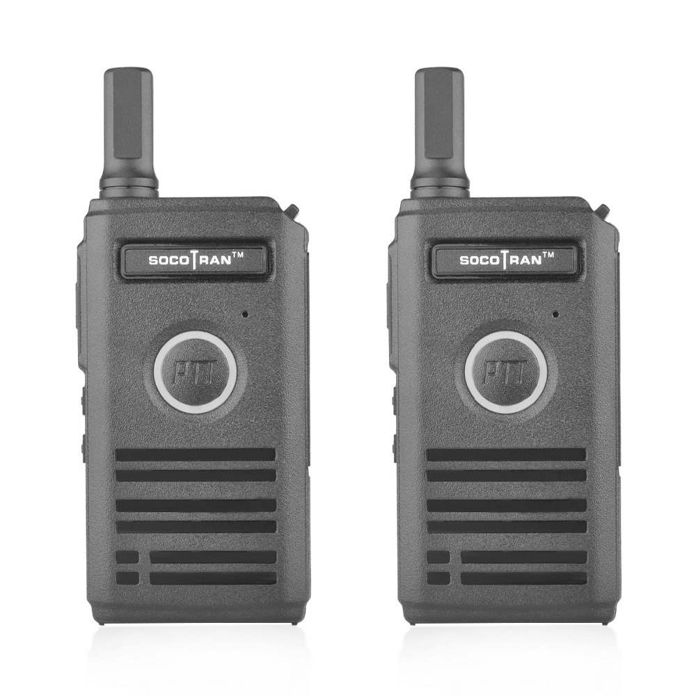 2pcs/lot SOCOTRAN SC-600 Radio Transceiver 2W UHF400-470MHZ Walkie Talkie Super Thin 2 Way Radio With Dual PTT & Breathing Light
