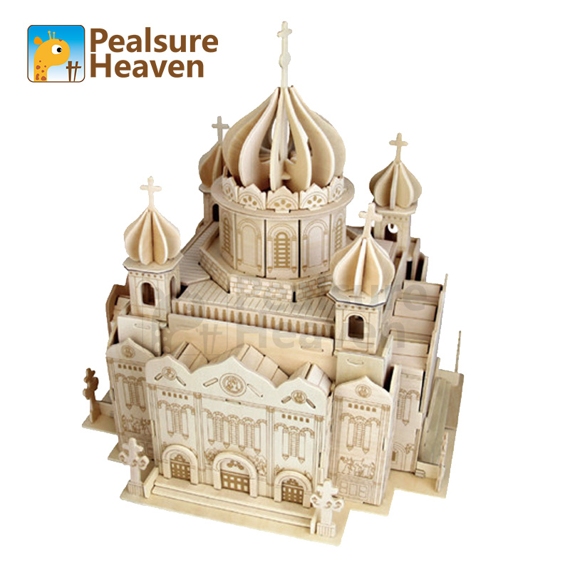 3D Wood Puzzle DIY Model Church House wooden cathedral of christ the saviour The Famous Building Series A Best Gift For Kids (2)