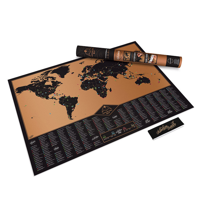 Scratch Map World Travel Map Scratch Off World Poster Copper Foil Wall Sticker Personalize
