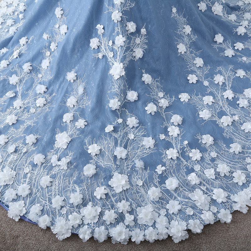 Image 5 - TW0184 Flower Fairy  Beige Appliques  Luxury Wedding Dress With Real Pictures Royal Blue Wedding  Gownsluxury wedding dresseswedding dressluxurious wedding -
