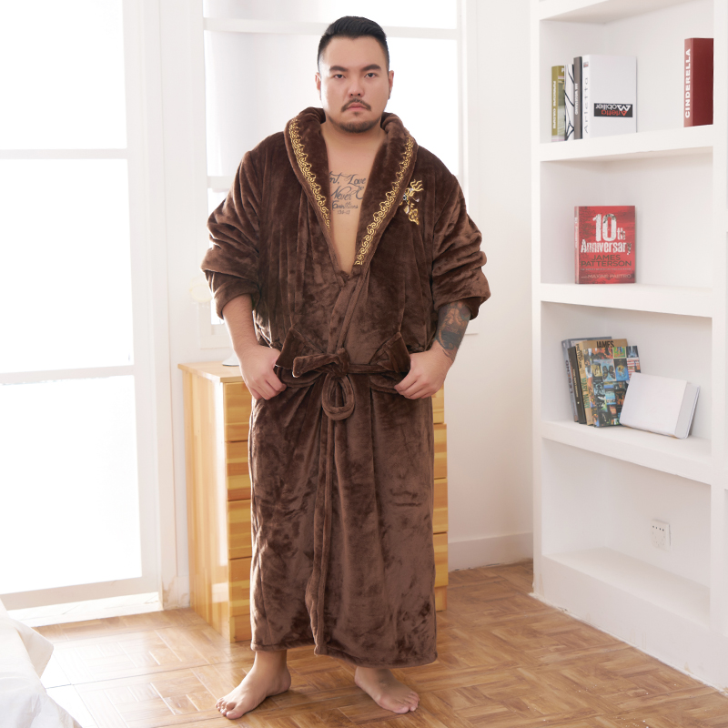 2019 New Plus Large Size Winter Robe Men Embroidered Dragon Flannel String Bathrobe Male Fat Size Long Warm Dressing Gown Luxury