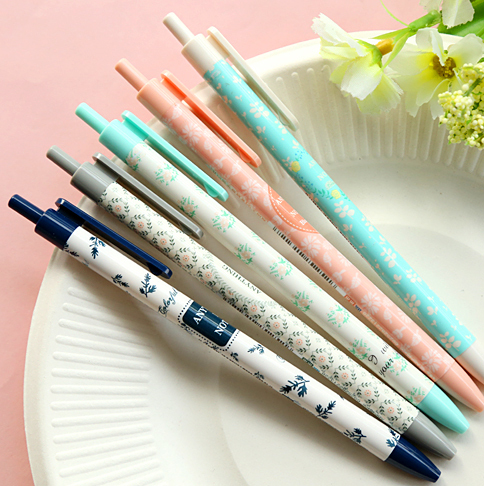(2pcs/lot) Flowers ballpoint pen for school stationery Blue ink writing kawaii ball pens School supplies(ss-a808)