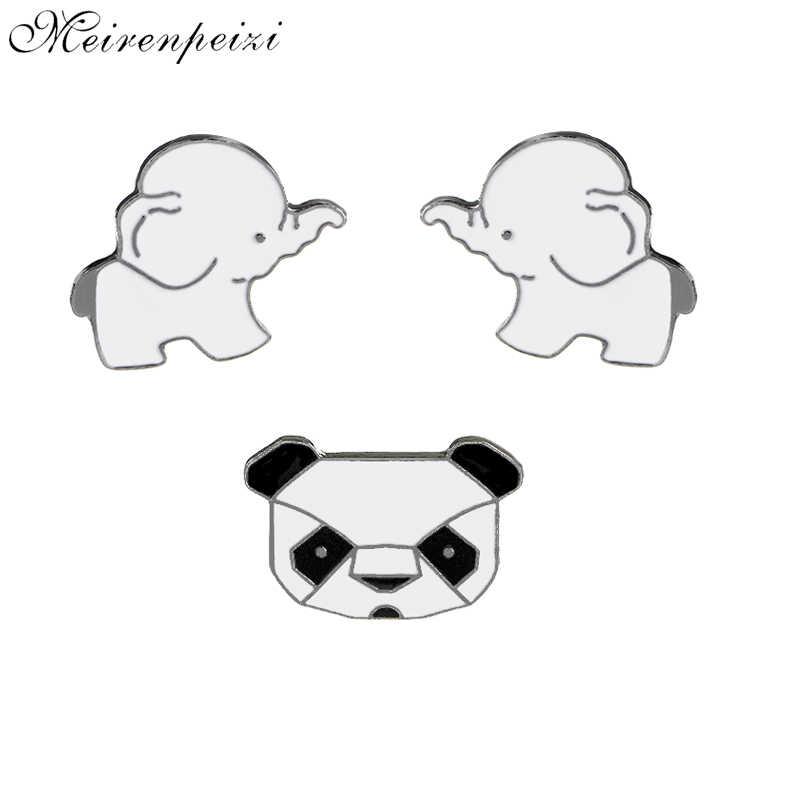 Panda Gajah Bros Hewan Pin Cute Enamel Logam Hitam Putih Panda Kerah Pin Lencana Wanita Gadis Syal Pin Indah broches