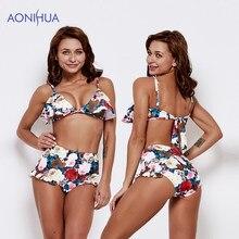 599ccf337b6 AONIHUA Bikini Women Swimsuit Floral Flower Design Two Piece Swimwear  Padded Bras Female Beach Wear Bathing Suits Bikini Set