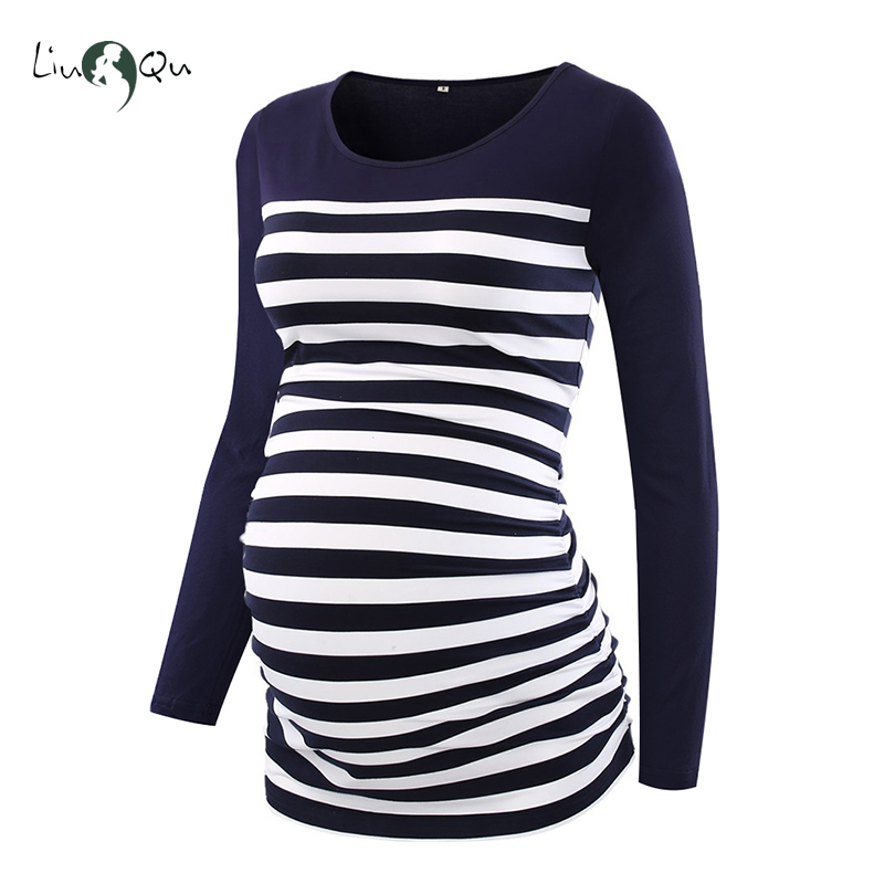68488d2a0f8 Women Maternity Clothes Striped Long Sleeve Side Ruched Tops Pregnancy  Clothing Blouses T Shirt Ropa Mujer Women Comfy Maternity-in Blouses    Shirts from ...