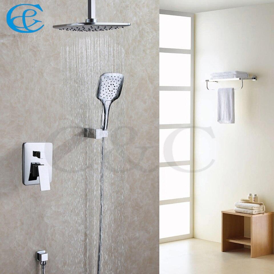 Chrome Polished Rainfall Bathroom Shower Head Three Function Hand Shower Contemporary Bath Shower Faucet Set 005-8A-3