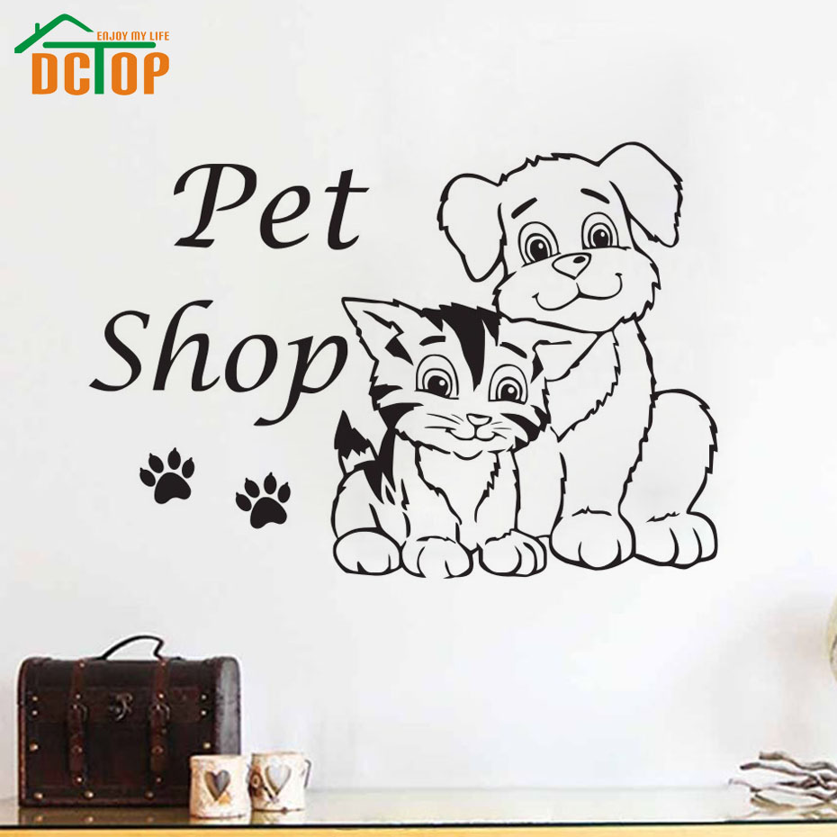 Wall stickers cat - Pet Shop Cats Dog Removable Vinyl Wall Decal Sticker Grooming Salon Waterproof Wall Stickers Creative Design