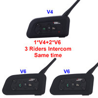 2017 New Set 3 Riders Talking Same Time 2 V6 1 V4 1200m Motorcycle Helmet Bluetooth