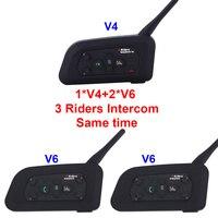 2017 New Set 3 Riders Talking Same Time 2 V6 1 V4 1200m Motorcycle Helmet Bluetooth