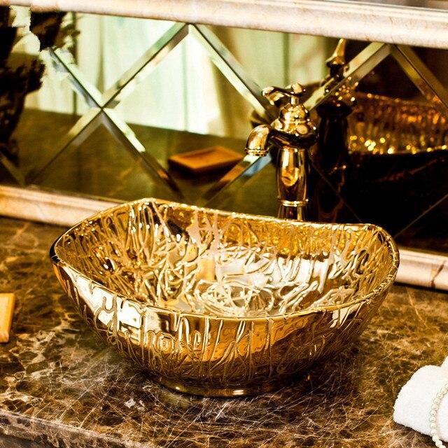 Gold Oval Porzellan Handgemachte Chinesische Sanitar Keramik Kunst