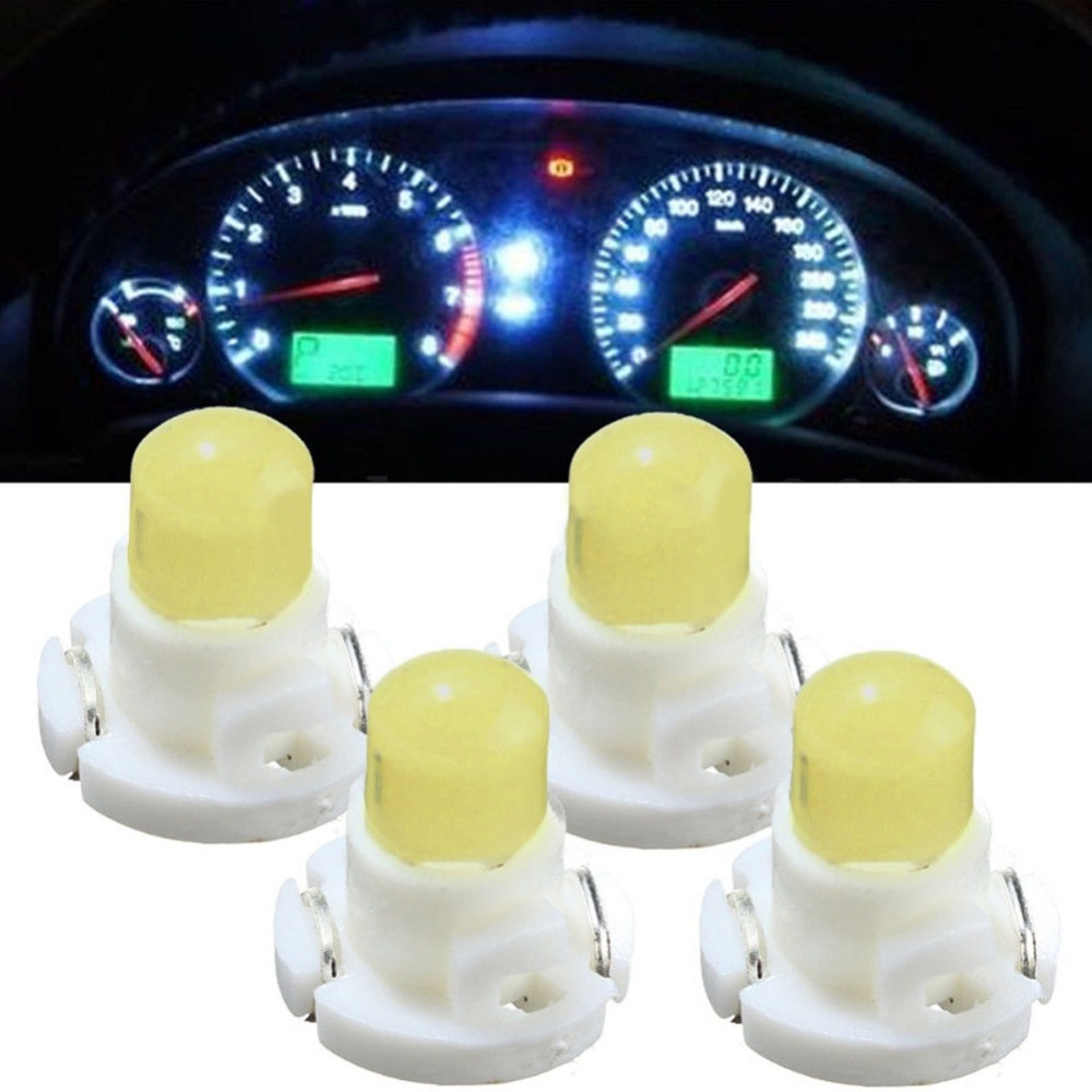 4pcs T4 COB Car LED New Wedge Dashboard Instrument Panel Lights Car Panel Gauge Dash Bulbs White DC 12V Car Styling Universal
