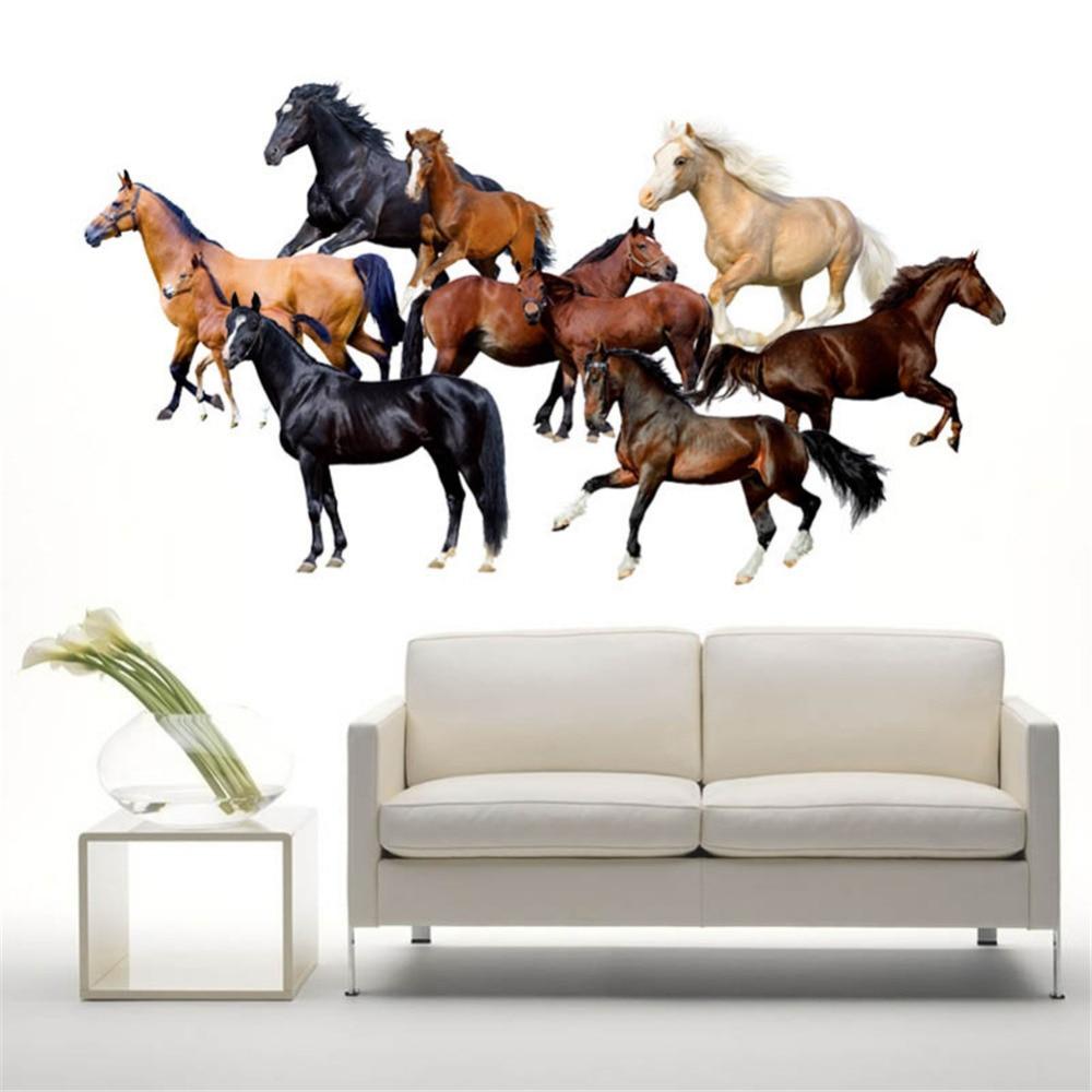10 Belos Cavalos Correndo Cavalos De Adesivos De Parede Remov Vel  -> Fts De Cavalo Rm Adesivo Pra Quarto