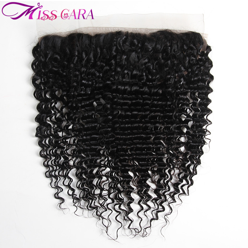 1 Piece Lot Deep Wave Brazilian Hair Lace Frontal Miss Cara Remy Human Hair 13X4 Hand