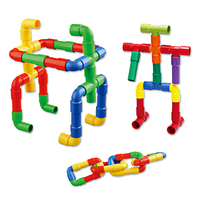 DIY Assembling Water Pipe Building Blocks Toy Baby Kids Pipeline Tunnel Block Model Toy Colorful Educational