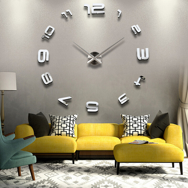Modern Fashion Large Digital Wall Clock DIY 3D Mirror Surface Decoration Decor For