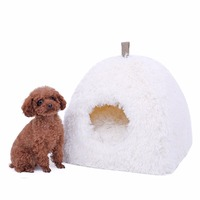 Soft Cat House Foldable Leopard fluff Easy Hang Dog Bed Animal Cave Nest Puppy White Dog Kennel Cute Pet Cat Dog House High