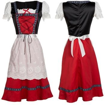 Oktoberfest Donne Plus Size Germania Tradizione Costume Birra Ragazza Bavarese Dirndl Vestito Cameriera Wench Carnevale Oktoberfest Costume
