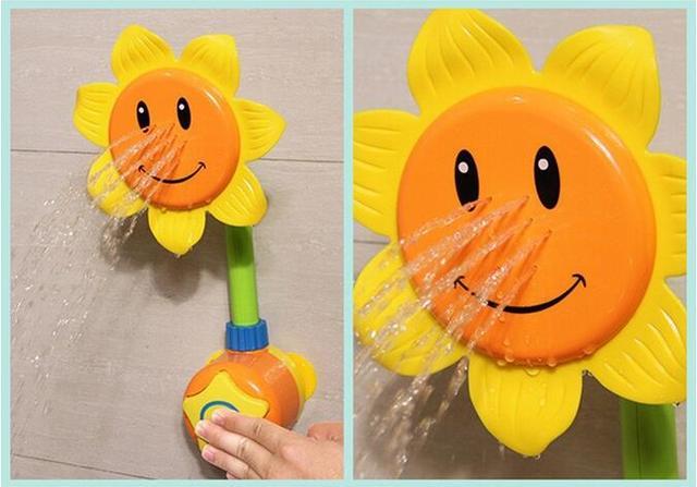 Novo Banho Do Bebê de Brinquedo Crianças Brinquedos Piscina de Natação Girassol Banho de Chuveiro Torneira Do Chuveiro 0-12 Meses de Aprendizagem Toy Presente Verde amarelo