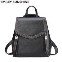 Ladies Genuine Leather Backpack College Bagpack Women Leather Backpack Elegant Black Back Bag Travel Bag Back To School plecak