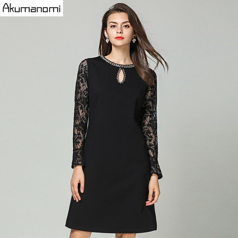 Autumn Lace Patchwork Dress Women Clothing Hollow out Diamonds O Neck Flare Full Sleeve Spring Dress