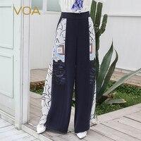 VOA тяжелый шелк Повседневные длинные брюки Для женщин брюки осень середины талии свободные брюки большой Размеры контраст Цвет принт K596