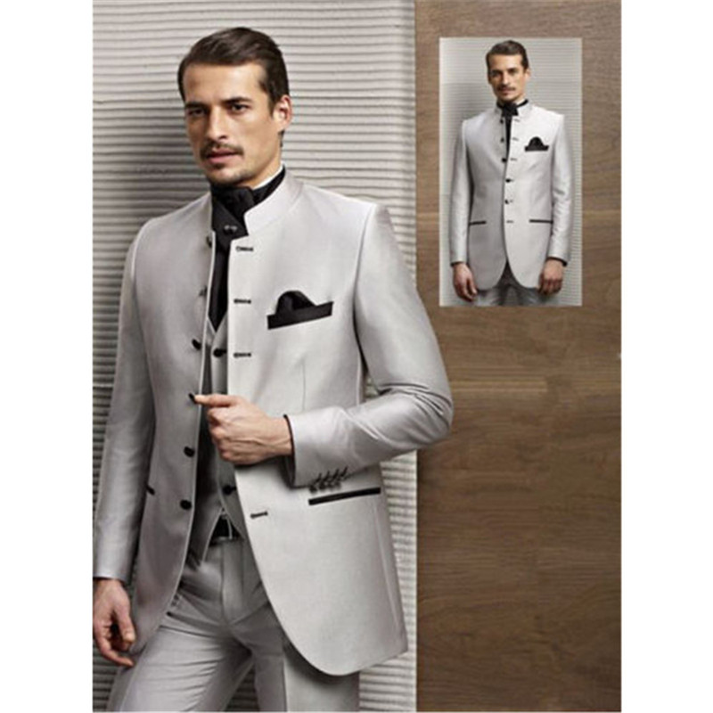Fashion Men's Suit Silver Chinese Collar Single Row Men's Business Office Professional Suit (jacket + Pants + Vest) Custom Made