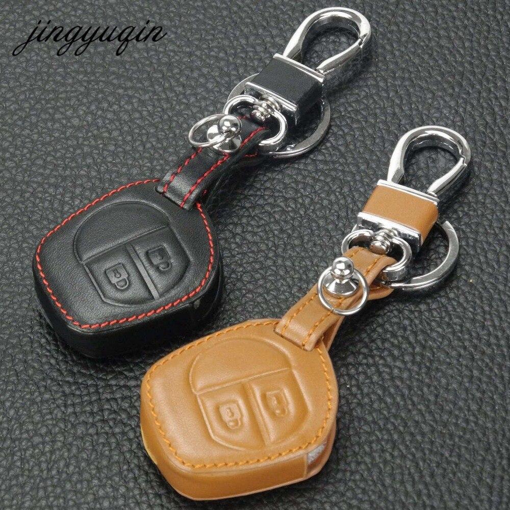 Jingyuqin 2 Button Remote Leather Key Case For Suzuki SX4 Swift Grand Vitara Liana Keychain Cover Car Accessories