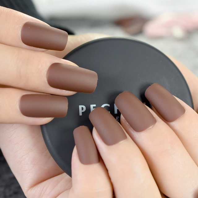 24pcs Chocolate Brown Finished Nail Tips Square Medium Full Cover Acrylic Fake Nails Matte Design Kit