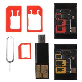 70d3c064271 5 En 1 Mini Universal adaptador de tarjeta SIM de almacenamiento Kits para  Nano Micro SIM. Juegos de la herramienta de SIM de calidad