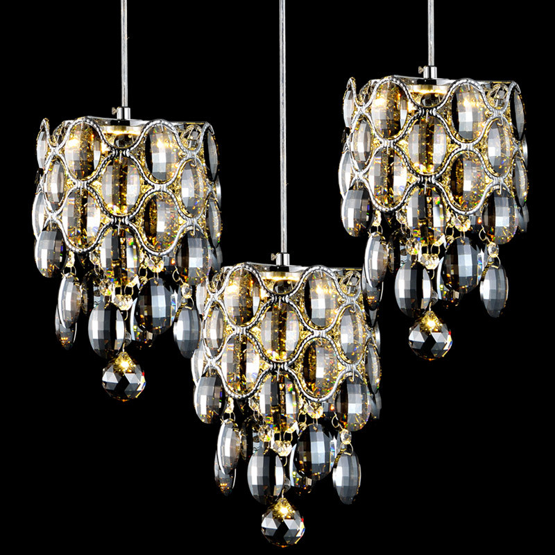 Modern Fashion Creative K9 Crystal Pendant Lights American  Bar Living Room LED Lustre Suspension Lamp Amber/Clear/Smoky gray creative modern led pendant light diamond grey amber cognac crystal glass g4 led bulb fixture lustre cristal suspension lamp