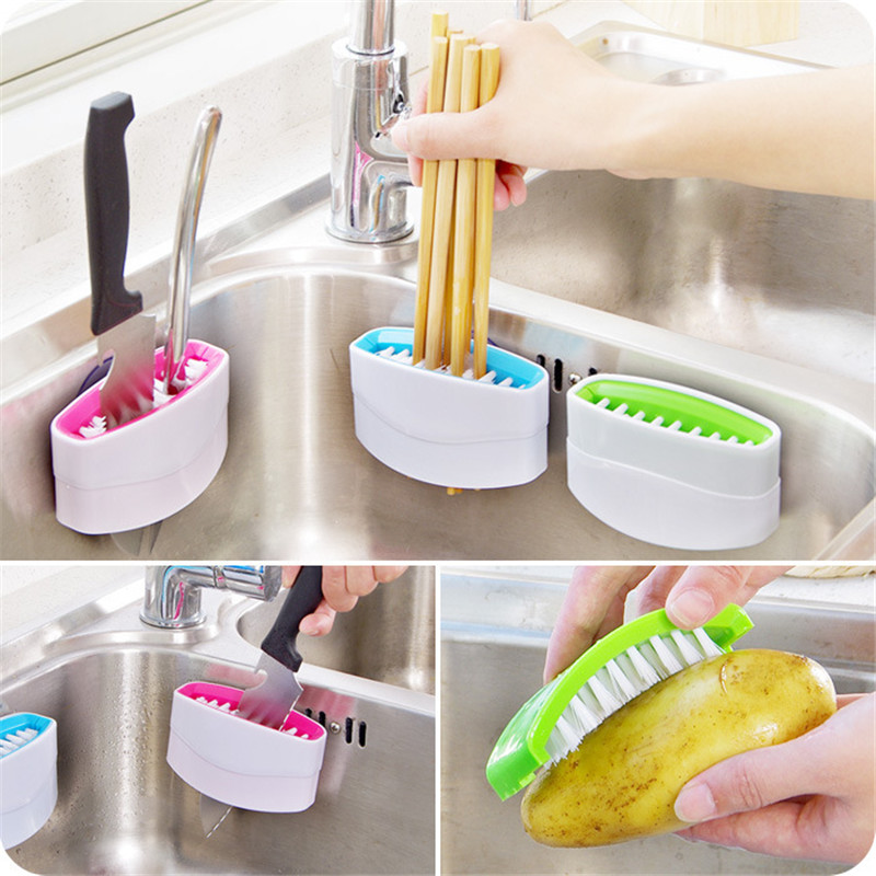 200pcs/lot Creative Kitchen Sucker Knife Fork Chopstick Cleaning Brushes Melon Fruit Brush Scourer Household Cleaning Tools