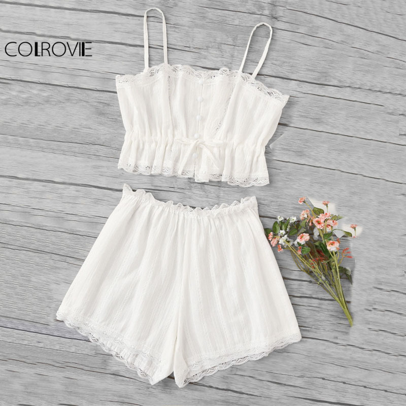 COLROVIE Scallop Lace Trim Cami   Pajama     Set   White Spaghetti Strap Sleeveless Drawstring Waist Sexy Two Piece   Set   With Button