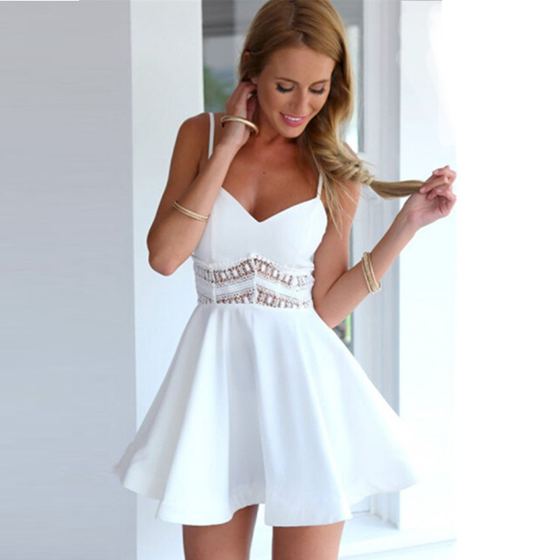 <font><b>Summer</b></font> <font><b>2019</b></font> <font><b>Fashion</b></font> <font><b>Sexy</b></font> <font><b>Elegant</b></font> <font><b>Lace</b></font> Stitching Strap V-neck Hollow <font><b>Dress</b></font> <font><b>Women</b></font> image