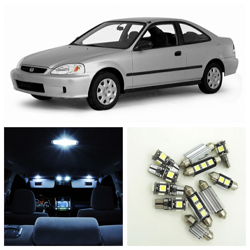 9pcs Xenon White Car LED Light Bulbs Interior Package Kit For 1996-2000 Honda Civic Map Dome Trunk License Plate Lamp спот brilliant ina арт g07734 05
