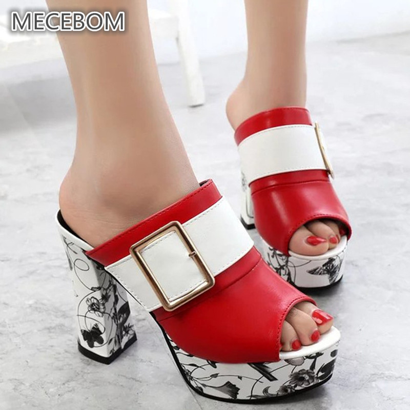 Spring Women Leather High Heel Pumps Ladies Mules Ethnic Flower Floral Wedges Party Shoes Platform Open Toe Sandals Slipper 936W