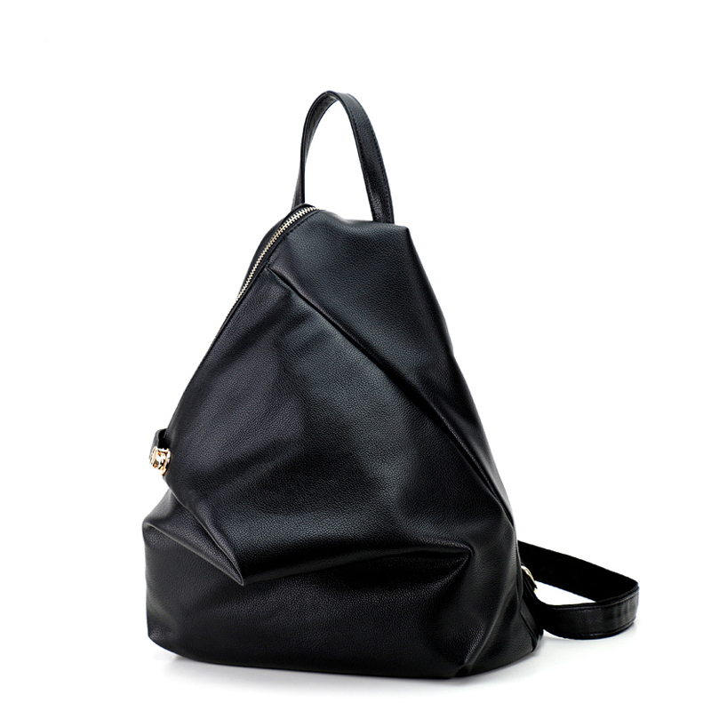 25bc6aa096 2017 New Arrival Solid Soft Pu Leather Women Backpacks Fashion Buttons  Backpacks For Girls Black Casual Travel School Bag