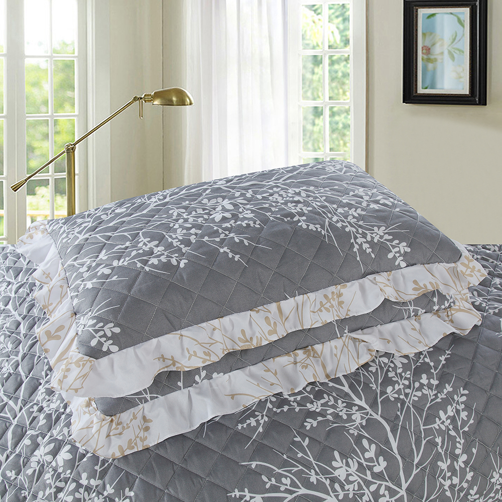 3D Printed White Branch Bedspread Gray Comforter 3 Pieces Skirt Design Summer Thin Quilt with 2 Pillowcase Air Conditioner Quilt - 2