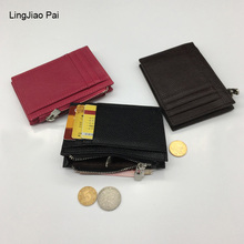 LingJiao Pai Genuine Leather Unisex Card Holder Wallets High Quality Female Credit Card Holders Women Pillow Card holder Purse