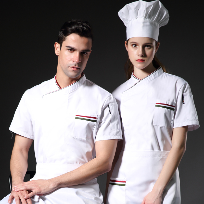 3 Colors Unisex Bakery Chef Uniform Short Sleeve New Restaurant Cook Uniforms Work Wear Hotel Cook Clothes LCMH25
