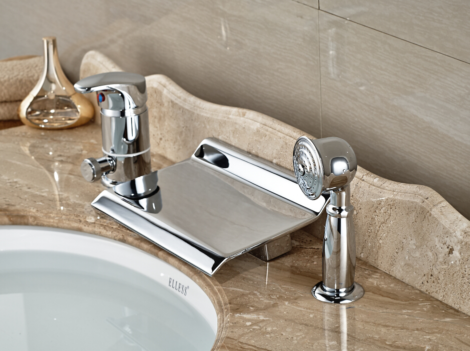 Deck Mounted Chrome Finished Bathroom Basin Faucet Waterfall Mixer Tap With Hand Shower bathroom basin faucet thermostatic bathroom crane water tap mixer with hand shower