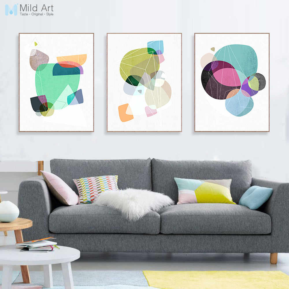 Modern Abstract Color Geometric Shape Poster Print Nordic Style Living Room Wall Art Picture Home Decor Canvas Painting Custom