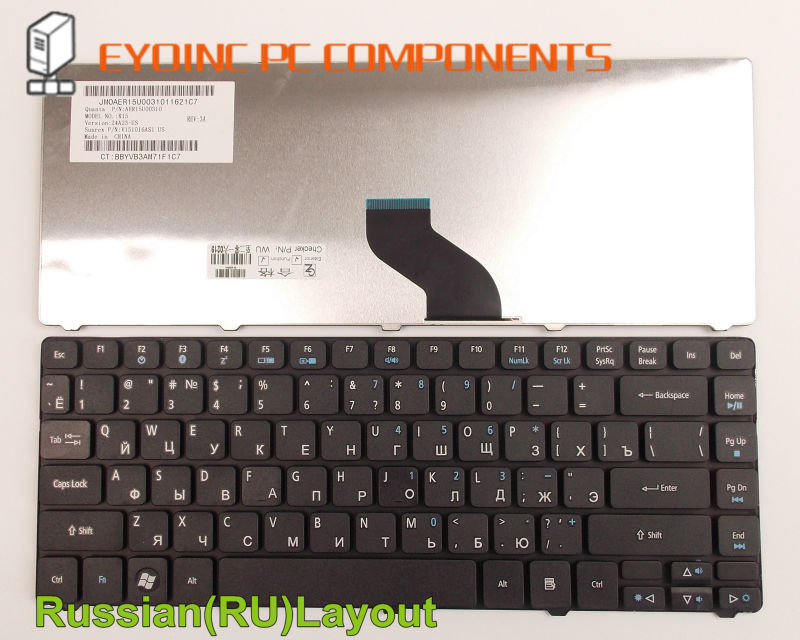 Laptop Keyboard For Acer Aspire P/N: 9J.N1P82.A1D PK1307R1A01 NSK-AM11D NSK-AMA1D RU Russian Version
